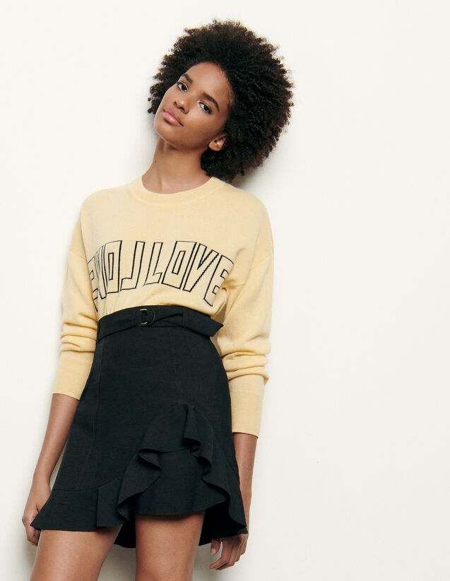 Short Skirt With Asymmetric Ruffle : Skirts & Shorts color Black