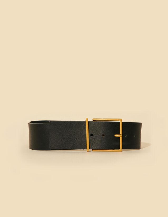 Wide Leather Belt : Belts color Black
