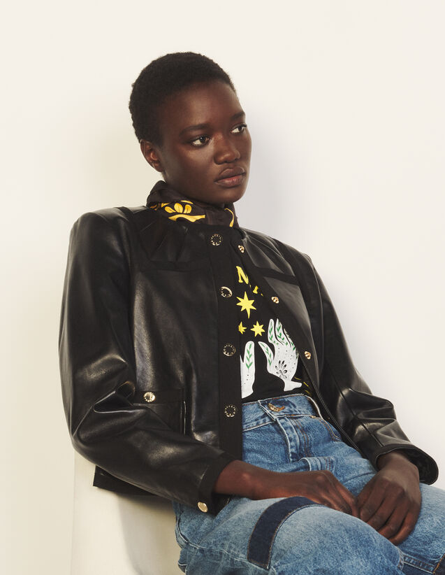 Leather Jacket With Decorative Buttons : Blazers & Jackets color Black