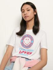 Organic Cotton T-Shirt With Motifs : T-shirts color White/Blue