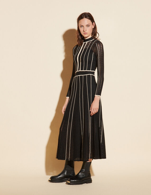 Long Two-Tone Pointelle Dress : Dresses color Black