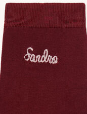 Embroidered Socks : Other accessories color Bordeaux