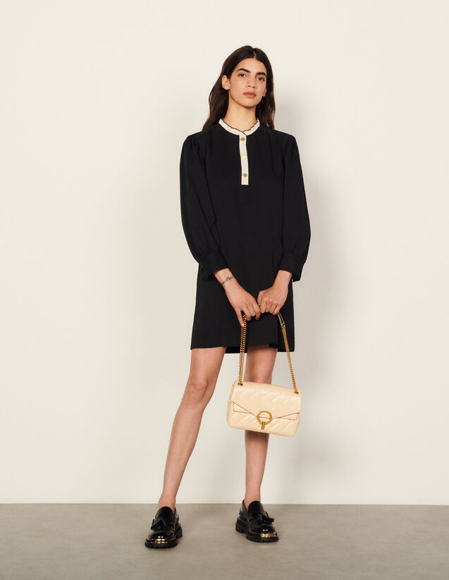 Dress With Two-Tone Ruffle Trim : Dresses color Black