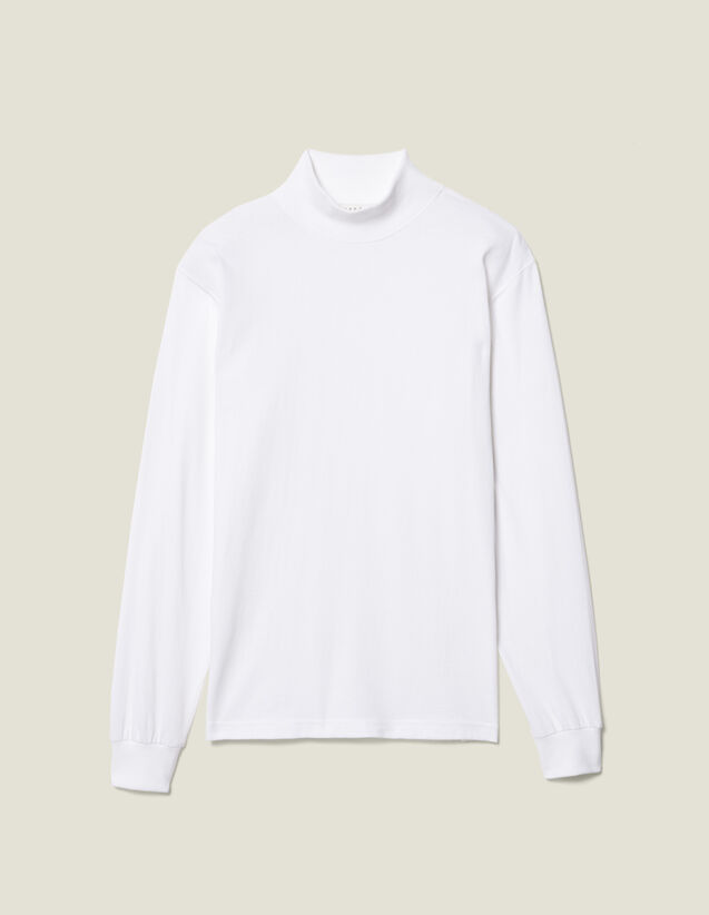Funnel Neck T-Shirt : T-shirts & Polo shirts color white