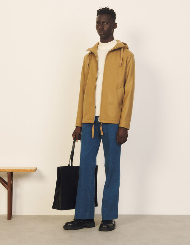 Wool And Cashmere Hooded Jacket : Trench coats & Coats color Beige