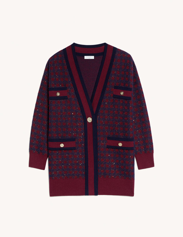 Checked Cardigan With Sequins : Sweaters & Cardigans color Navy / Burgundy