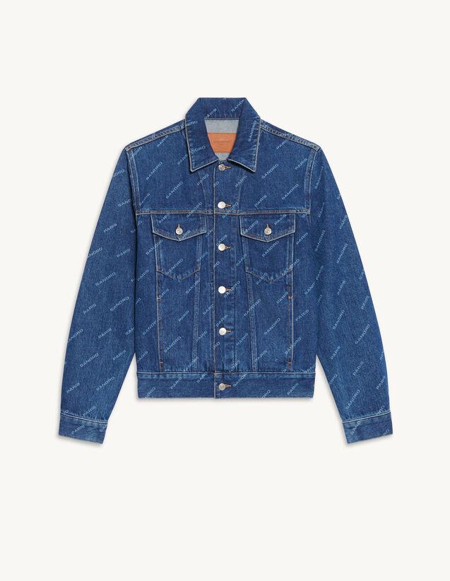 Printed Denim Jacket : Trench coats & Coats color Blue Vintage - Denim