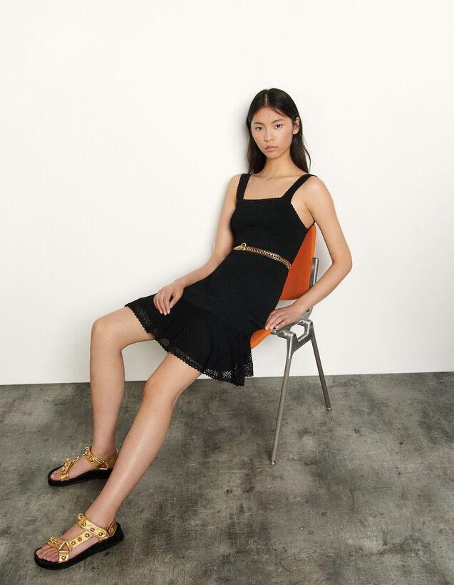 Smocked Dress With Straps : Dresses color Black