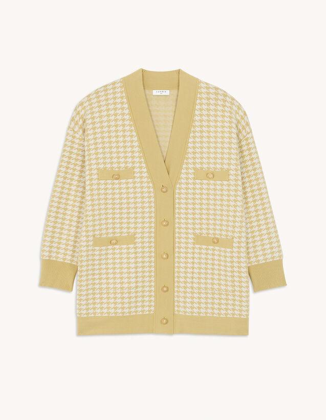 Houndstooth Pattern Coatigan : Sweaters & Cardigans color Ecru / Black