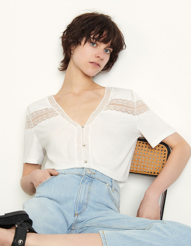 T-Shirt With Lace : T-shirts color white