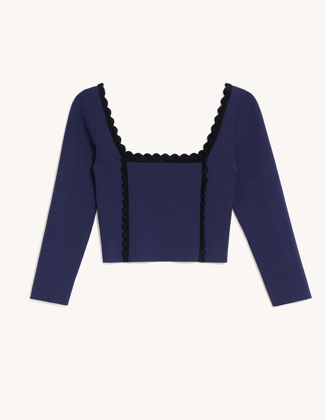 Cropped Top With Square Neckline : Tops color Navy Blue