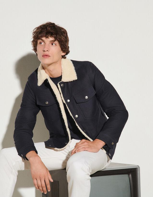 Cotton Jacket : Jackets & Coats color Navy Blue
