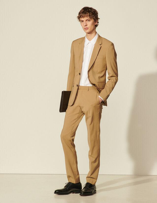 Virgin Wool Suit Trousers : Pants & Shorts color Ficelle