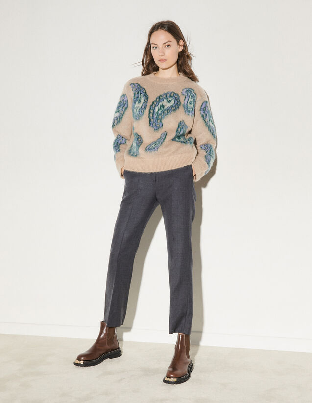 Mohair Patterned Sweater : Sweaters & Cardigans color Beige
