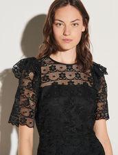 Short-Sleeved Lace Dress : Dresses color Black