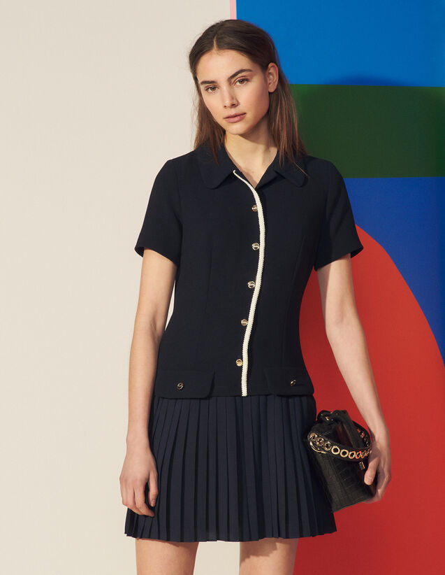 Mixed Material Pleated Dress : Dresses color Navy Blue