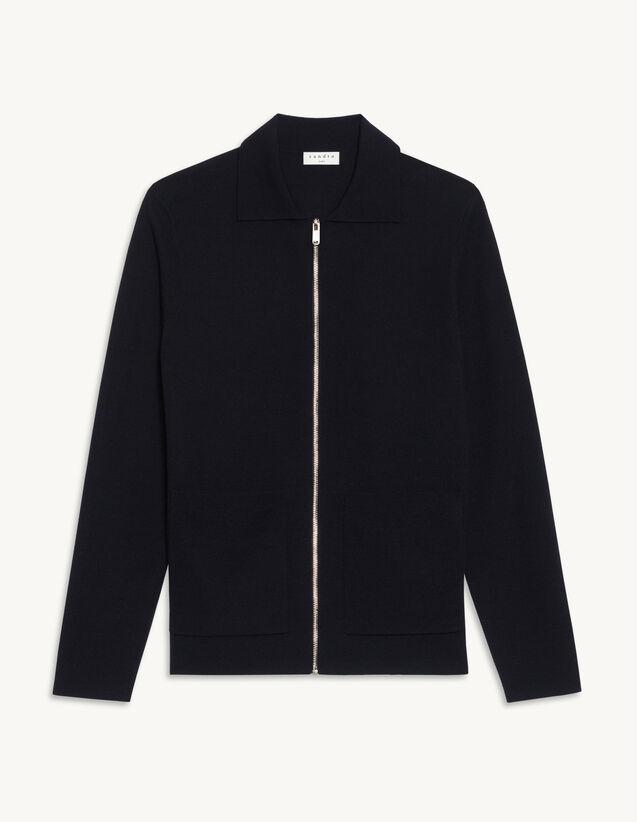 Zip-Up Wool Cardigan : Sweaters & Cardigans color Black