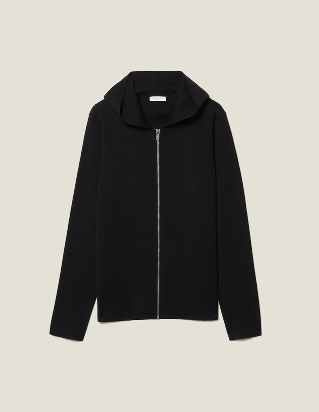 Zipped Cardigan With Hood : Sweaters & Cardigans color Black