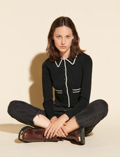 Cropped Cardigan With Shirt Collar : Sweaters & Cardigans color Black