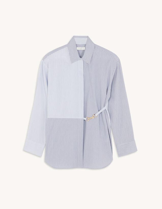 Stripy Shirt With Snap Hook : Shirts color Navy / Ecru