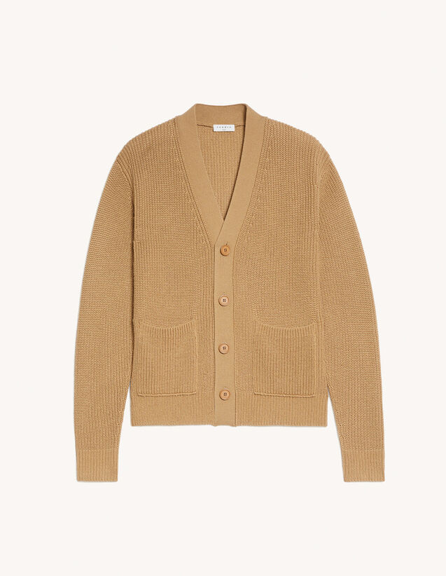 Wool Cardigan : Sweaters & Cardigans color Camel