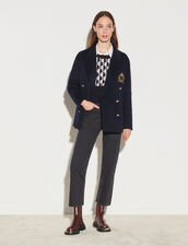 Double Faced Blazer With Patch : Coats color Navy Blue