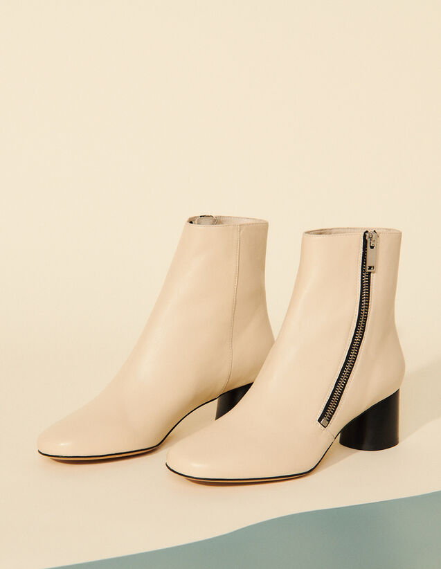 Ankle Boots With Side Zips : Boots color Ecru