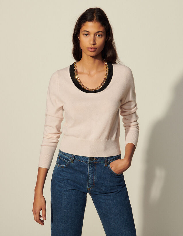Wool And Cashmere Sweater : Sweaters & Cardigans color Light Pink