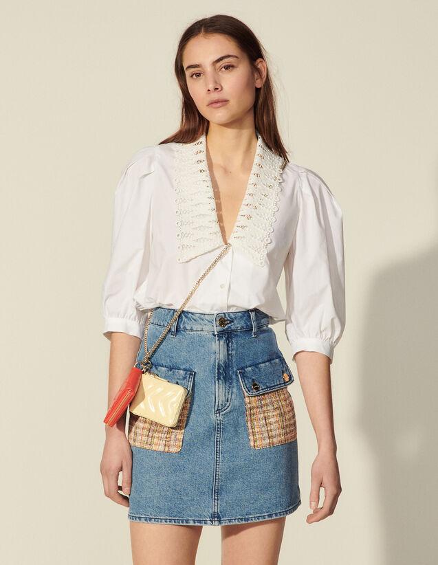 Denim Skirt With Tweed Pockets : Skirts & Shorts color Bleu Denim