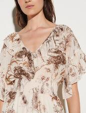 Long Printed Dress With Ruffles : Dresses color Ecru / Brown