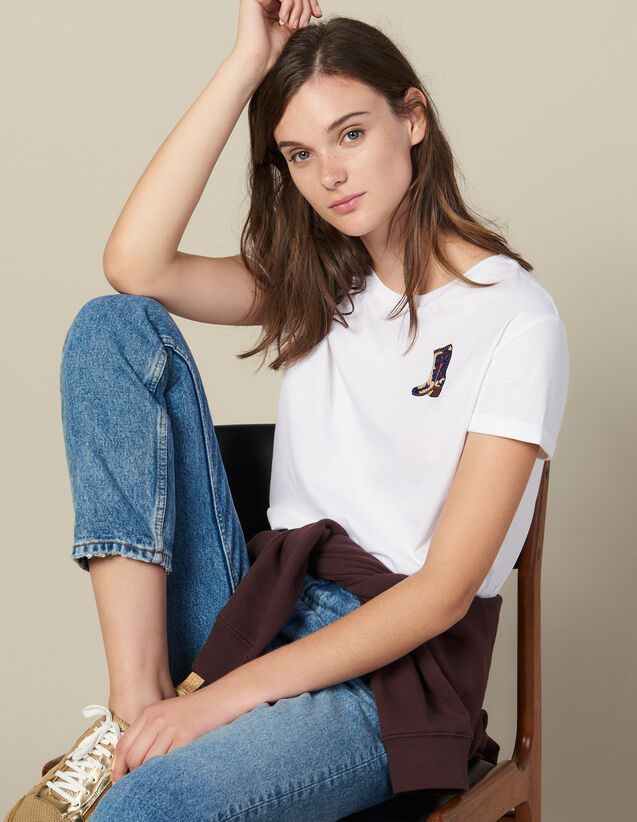 T-Shirt With Embroidered Patch : T-shirts color white