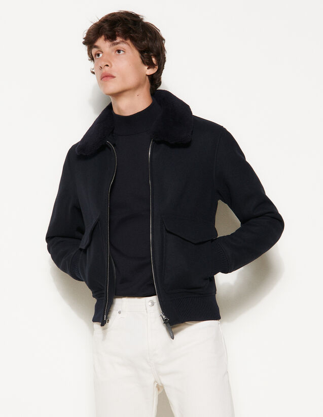 Aviator Jacket With Sheepskin Collar : Trench coats & Coats color Navy Blue