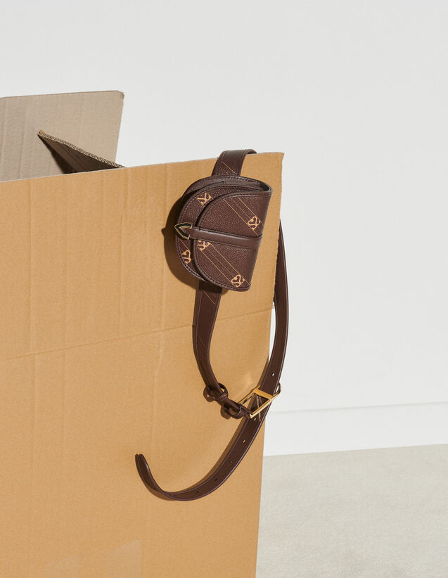 Belt Bag With Contrasting Monogram : Bags color Brown