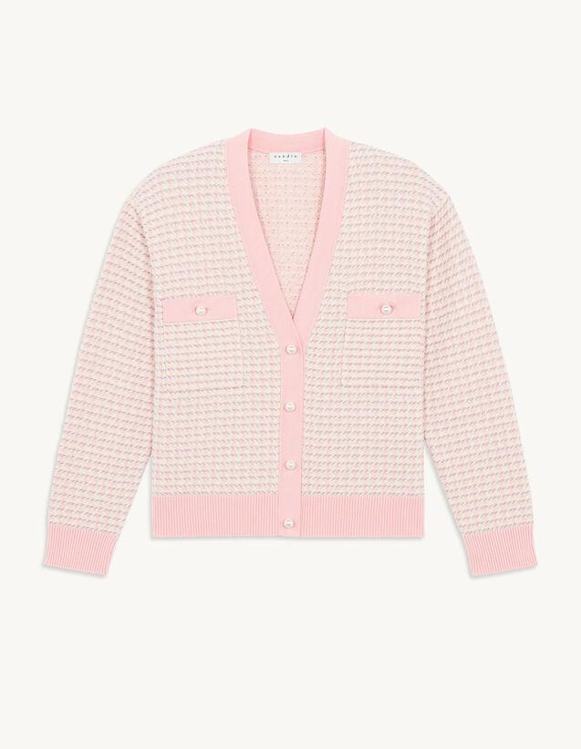 Short Coatigan In Fancy Tweed : Sweaters & Cardigans color Pink
