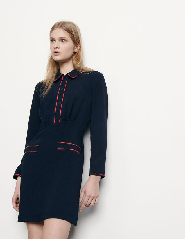 Textured Dress With Braid Trims : Dresses color Navy Blue