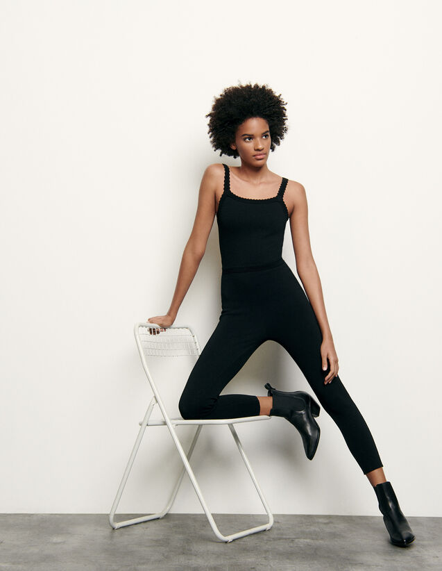 Knitted Jumpsuit : Jumpsuits color Black