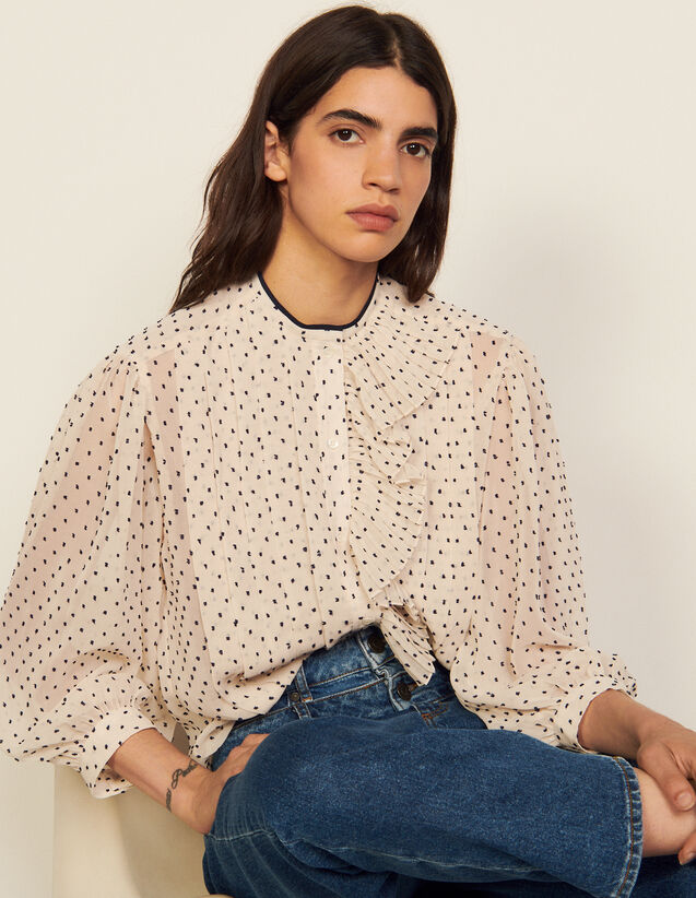 Floaty Shirt With Jabot Collar : Shirts color White / Blue