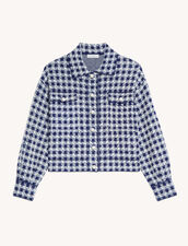Cropped Jacket In Jacquard Tweed : Blazer & Jacket color Navy / Ecru