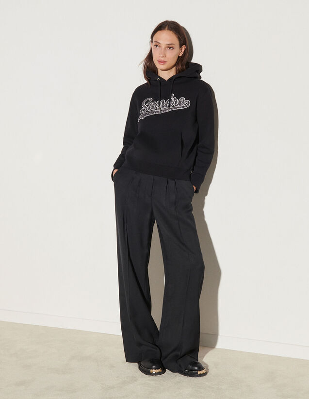 Hoodie With Patch : Tops color Black