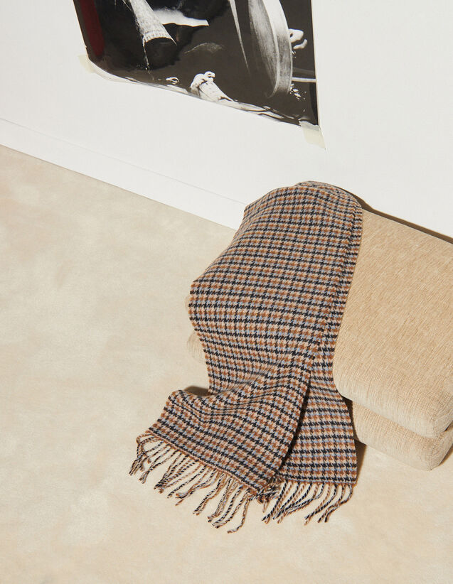 Houndstooth Wool Scarf : Scarves color Camel