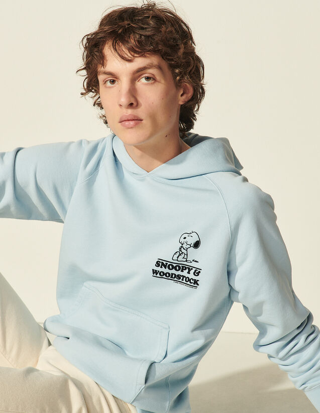 Hooded Sweatshirt With Snoopy Flocking : Sweatshirts color Sky Blue