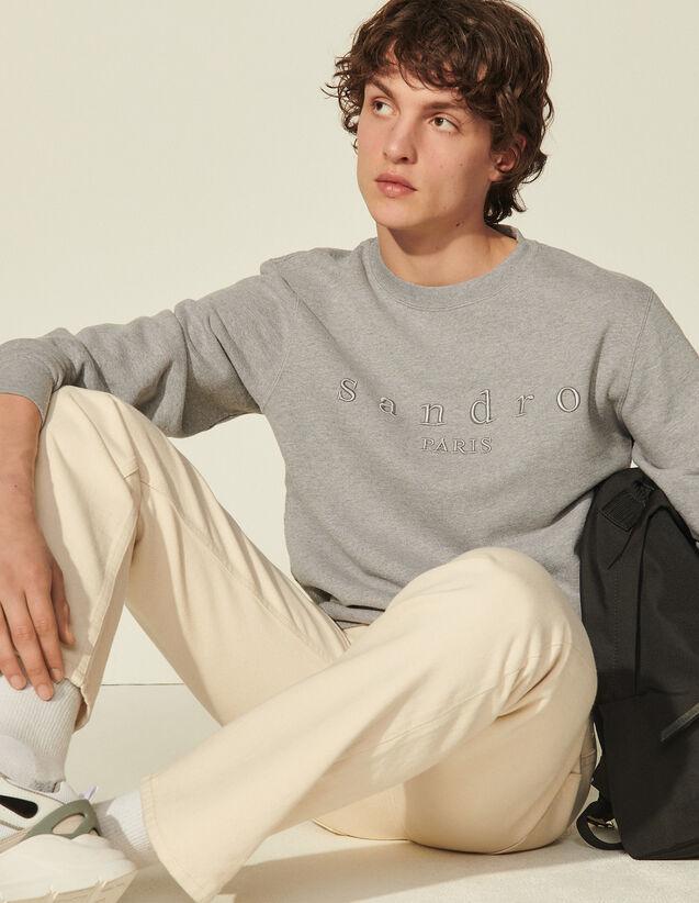Sweatshirt With Sandro Embroidery : Sweatshirts color Mocked Grey
