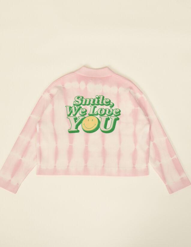 Smiley® Short Tie-Dye Coatigan : Sweaters & Cardigans color Pink
