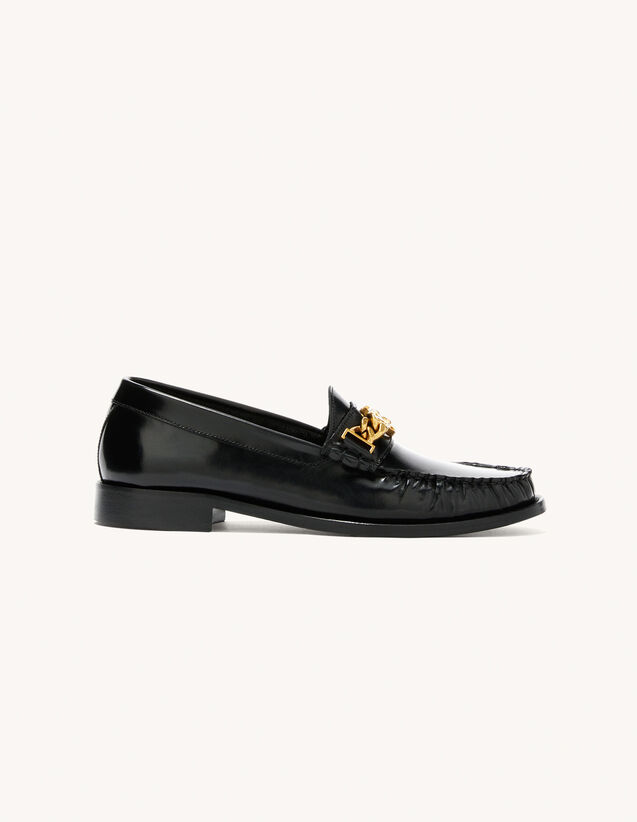 Smooth Leather Loafers : Shoes color Black