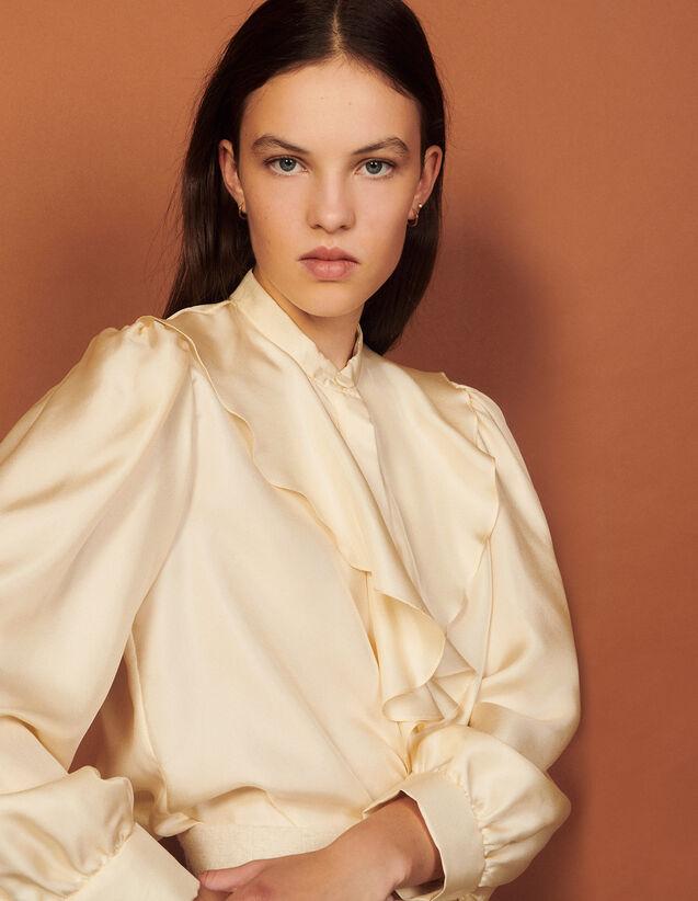 Silk Shirt With Jabot Collar : Shirts color Butter