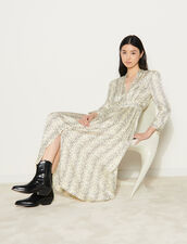 Long Printed Dress With Long Sleeves : Dresses color Ecru / Black