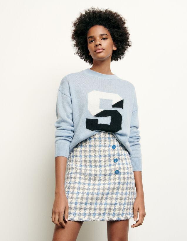 Short Houndstooth Tweed Skirt : Skirts & Shorts color Blue Sky