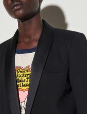 Tuxedo Jacket With Satin Inset : Blazer & Jacket color Black