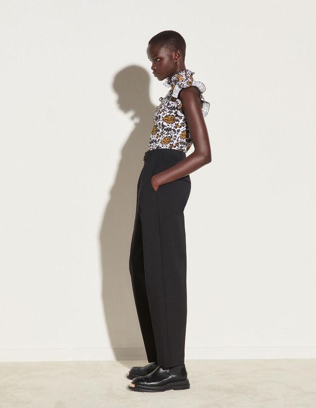 Printed Vest Top With Ruffles : Tops color Ecru / Black