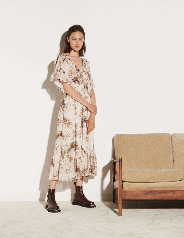 Long Printed Dress With Ruffles : Dresses color Ecru / Brown